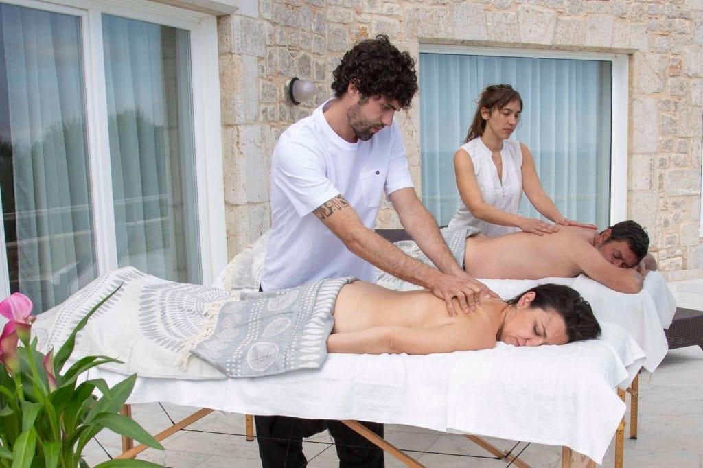 masaje. en terraza
